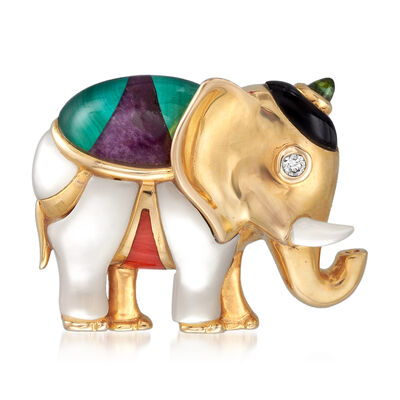 C. 1990 Vintage Asch Grossbardt Multi-Gemstone Elephant Pin in 14kt Yellow Gold