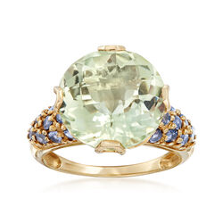 C. 1990 Vintage 8.5 Carat Green Prasiolite and Blue Topaz Ring in 10kt Yellow Gold, , default