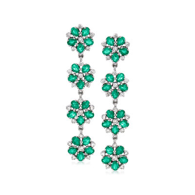 C. 1980 Vintage 6.00 ct. t.w. Emerald and 1.35 ct. t.w. Diamond Floral Drop Earrings in 14kt White Gold, , default