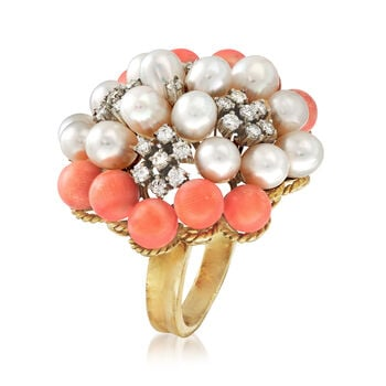 C. 1980 Vintage Cultured Pearl and .60 ct. t.w. Diamond Cluster Ring With Pink Coral in 14kt Gold. Size 6.25, , default