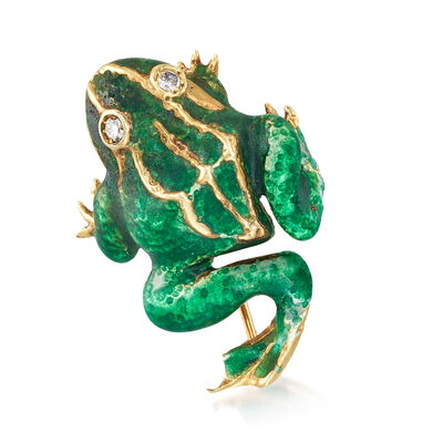 C. 1970 Vintage Green Enamel Frog Pin in 14kt Yellow Gold