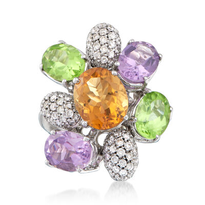 C. 1990 Vintage Fred 8.65 ct. t.w. Multi-Gem and .75 ct. t.w. Diamond Flower Ring in 18kt Yellow Gold