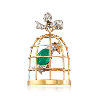 C. 1950 Vintage Green Chalcedony and .55 ct. t.w. Diamond Caged Bird in 18kt Yellow Gold, , default