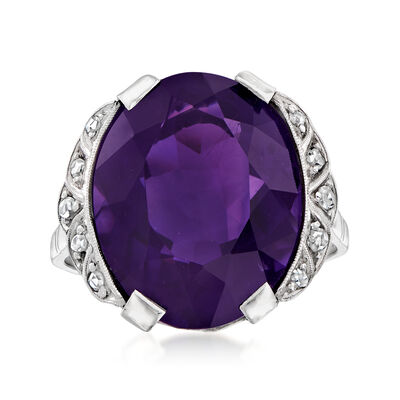 C. 1920 Vintage 9.98 Carat Amethyst Ring with .15 ct. t.w. Diamonds in 14kt White Gold