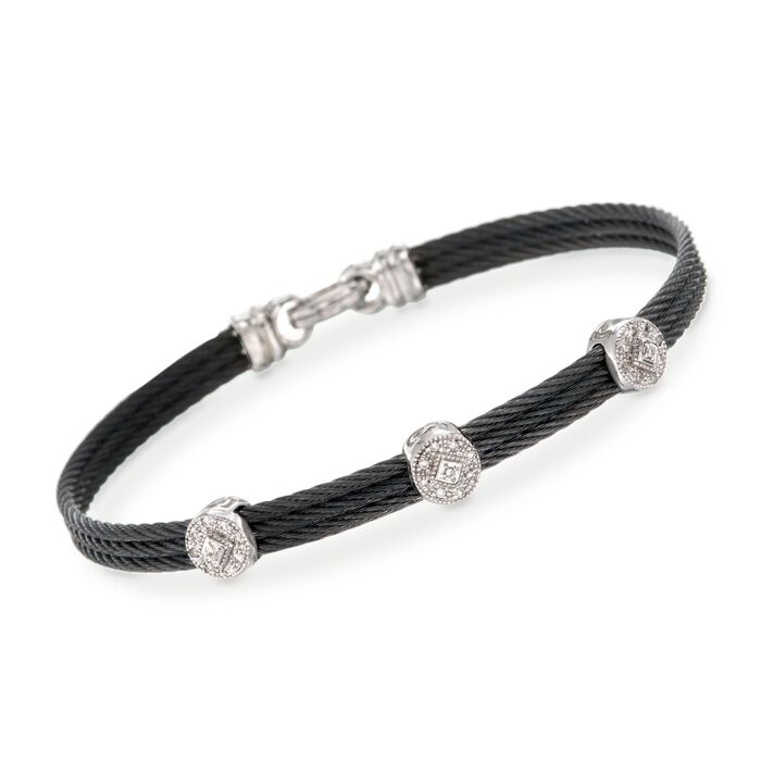 "ALOR Classique .14 Carat Total Weight Diamond Bracelet in Black Stainless Steel and 18-Karat White Gold. 7"", , default"
