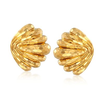 C. 1980 Vintage Henry Dunay 18kt Yellow Gold Hammered Shell Earrings, , default