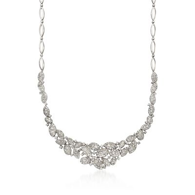11.75 ct. t.w. Diamond Cluster Necklace in 18kt White Gold, , default