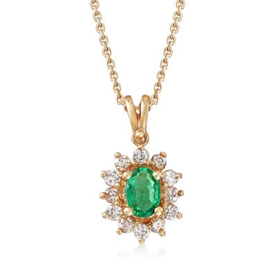 C. 1990 Vintage .35 ct. t.w. Diamonds and .30 Carat Emerald Pendant Necklace in 14kt Yellow Gold, , default
