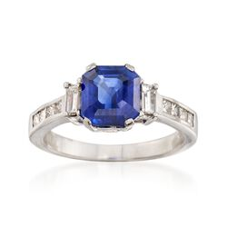 C. 2000 Vintage 2.98 Carat Ceylon Sapphire and .75 ct. t.w. Diamond Ring in Platinum, , default