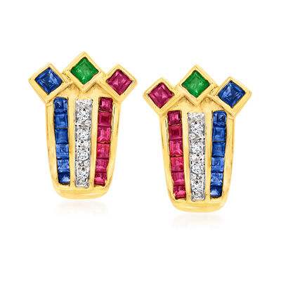 C. 1980 Vintage 1.76 ct. t.w. Multi-Gemstone Earrings with Diamond Accents in 14kt Yellow Gold
