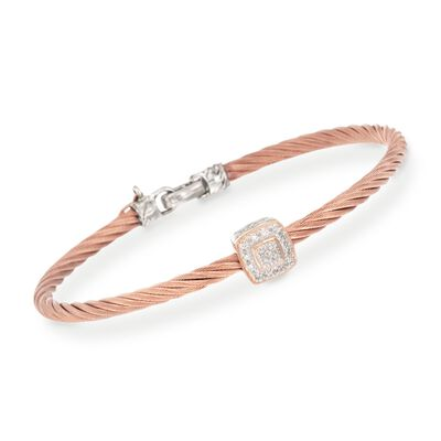 "ALOR ""Classique"" Rose Cable Station Bracelet With Diamond Accents and 18kt Gold, , default"