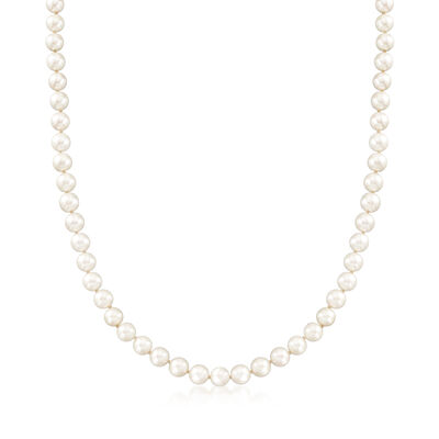 C. 1980 Vintage 7mm Cultured Pearl Necklace with Diamond Accents in 14kt White Gold