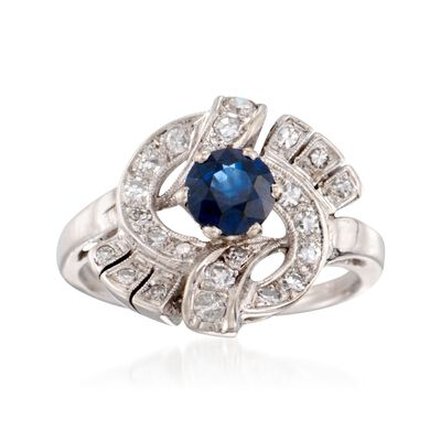 C. 1980 Vintage .70 Carat Sapphire and .35 ct. t.w. Diamond Swirl Ring in 14kt White Gold