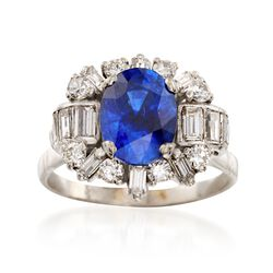 C. 1970 Vintage 2.65 Carat Sapphire and 1.10 ct. t.w. Diamond Ring in 18kt White Gold, , default
