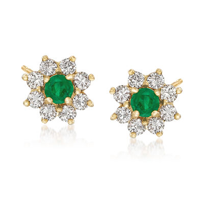C. 1980 Vintage .80 ct. t.w. Diamond and .40 ct. t.w. Emerald Floral Earrings in 14kt Yellow Gold, , default