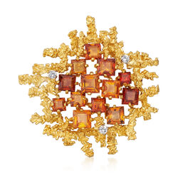 C. 1975 Vintage 8.75 ct. t.w. Citrine and .30 ct. t.w. Diamond Square-Shaped Pin in 18kt Yellow Gold, , default