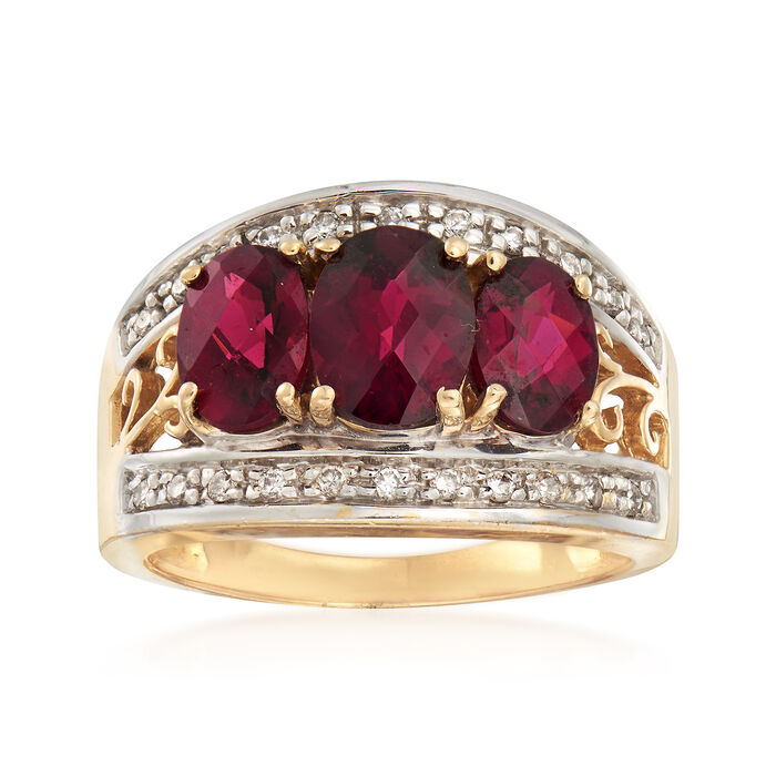 C. 1990 Vintage 3.80 ct. t.w. Rhodolite Garnet and .25 ct. t.w. Diamond Ring in 14kt Yellow Gold. Size 7.75, , default