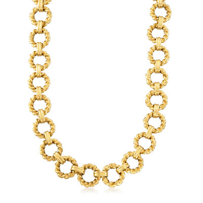 C. 1990 Vintage 18kt Yellow Gold Link Chain Necklace, , default