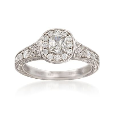 Henri Daussi .90 ct. t.w. Diamond Engagement Ring in 18kt White Gold