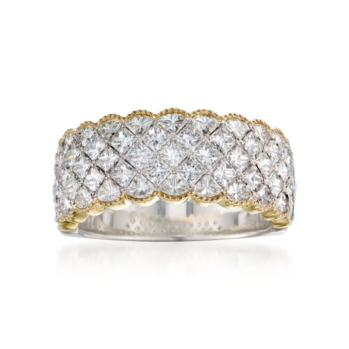 Simon G. 2.80 Carat Total Weight Diamond and 18-Karat Yellow and White Gold Ring. Size 7, , default