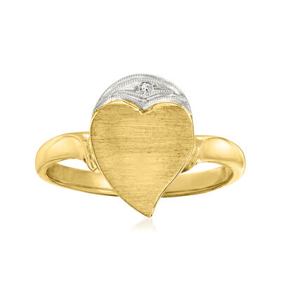 C. 1960 Vintage 10kt Yellow Gold Heart Signet Ring with Diamond Accent
