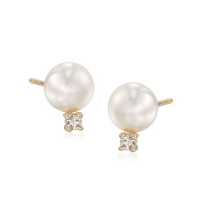 Mikimoto 6-6.5mm A+ Akoya Pearl and Diamond Stud Earrings in 18kt Yellow Gold