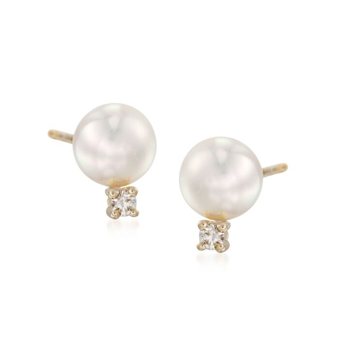 Mikimoto 6-6.5mm Akoya Pearl and Diamond Accent Studs in 18-Karat Yellow Gold, , default