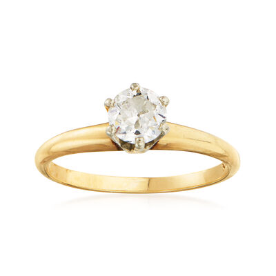 C. 1980 Vintage .50 Carat Diamond Solitaire Ring in 14kt Yellow Gold, , default