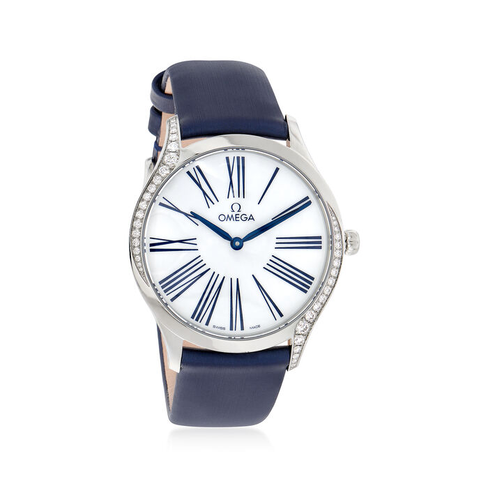 Omega De Ville Tresor Women's 36mm Stainless Steel Watch with Diamonds and  Blue Fabric