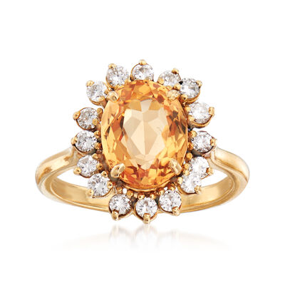 C. 1980 Vintage 4.25 Carat Smoky Topaz and .65 ct. t.w. Diamond Ring in 18kt Yellow Gold, , default