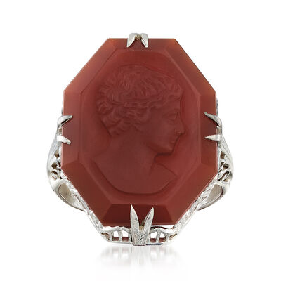 C. 1980 Vintage Red Carnelian Intaglio Ring in 18kt White Gold, , default