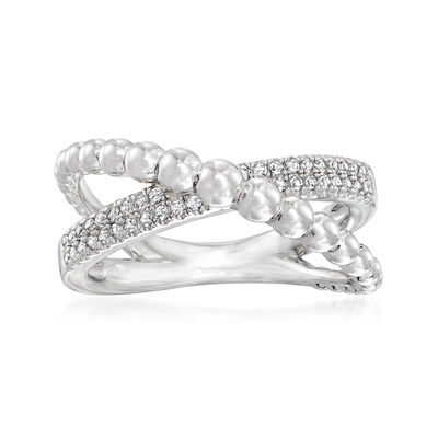 Gabriel Designs .20 ct. t.w. White Sapphire Criss-Cross Ring in Sterling Silver