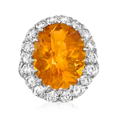 C. 2000 Vintage 10.88 Carat Citrine Cocktail Ring with 2.20 ct. t.w. Diamonds in 18kt White Gold