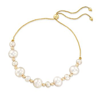 5-9mm Cultured Pearl Bead Bolo Bracelet in 14-Karat Yellow Gold, , default