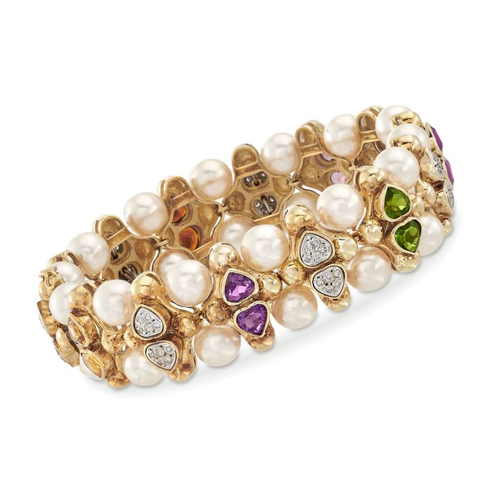 C. 1980 Vintage 5.80 ct. t.w. Multi-Stone and 7.5mm Cultured Pearl Bracelet with Diamonds in 14kt Yellow Gold