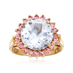 C. 1980 Vintage 6.20 Carat Blue Topaz and .60 ct. t.w. Pink Topaz Ring in 10kt Yellow Gold, , default