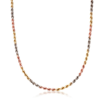 C. 1990 Vintage 14kt Tri-Colored Gold Rope Chain, , default
