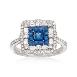 Gregg Ruth .81 ct. t.w. Sapphire and .73 ct. t.w. Diamond Ring in 18kt White Gold, , default