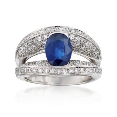 C. 2000 Vintage 1.95 Carat Sapphire and 1.10 ct. t.w. Diamond Ring in 14kt White Gold, , default