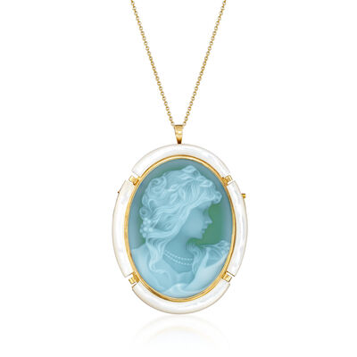C. 1980 Vintage Mother-Of-Pearl and Green Glass Cameo Pin/Pendant in 18kt Yellow Gold, , default