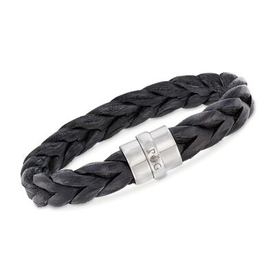 "Phillip Gavriel ""Woven Silver"" Men's Black Leather Wide Bracelet with Sterling Silver, , default"