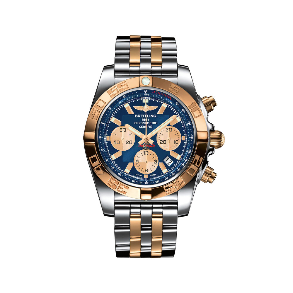 Breitling Chronomat Men S 44mm Stainless Steel And 18kt Rose Gold Watch Metallic Blue Dial