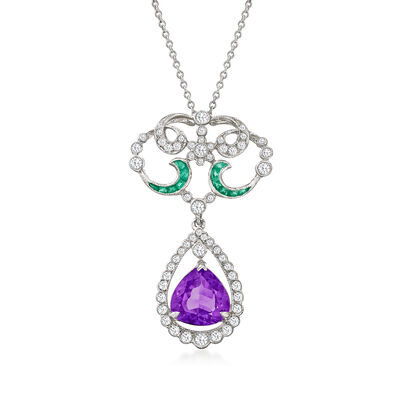 C. 1990 Vintage 1.80 Carat Amethyst, .65 ct. t.w. Diamond and .10 ct. t.w. Emerald Pendant Necklace in 18kt White Gold
