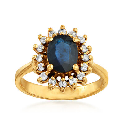 C. 1980 Vintage 1.25 Carat Sapphire and .35 ct. t.w. Diamond Ring in 14kt Yellow Gold, , default