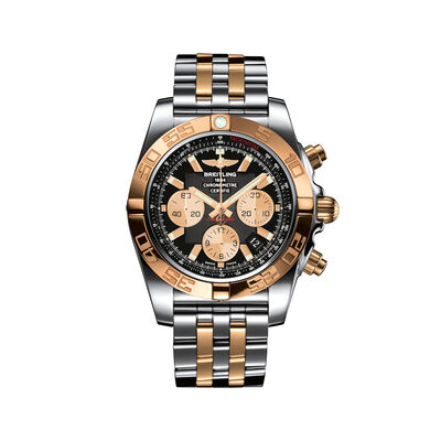 Breitling Chronomat Men's 44mm Stainless Steel and 18kt Rose Gold Watch - Black Dial, , default