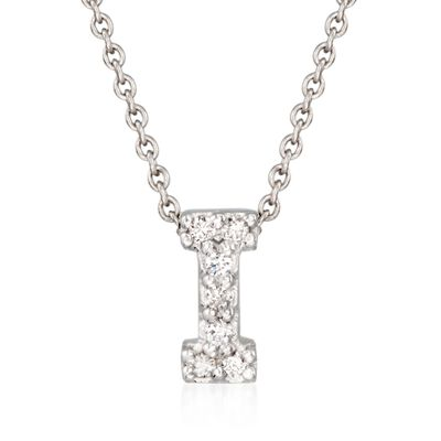 "Roberto Coin ""Love Letter"" Diamond Accent Initial ""I"" Necklace in 18kt White Gold, , default"