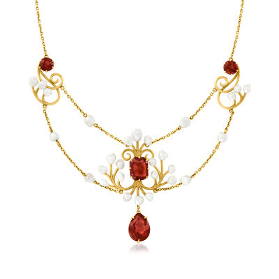 C. 1930 Vintage 6.00 ct. t.w. Garnet Drop Necklace with Cultured Baroque Pearls in 15kt Yellow Gold