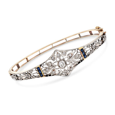 C. 1940 Vintage .90 ct. t.w. Diamond and .60 ct. t.w. Sapphire Filigree Bracelet in 14kt Yellow Gold, , default