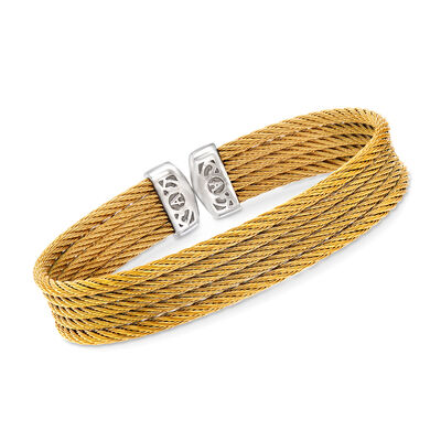 "ALOR ""Classique"" Yellow Multi-Strand Stainless Steel Cable Cuff, , default"