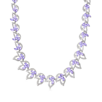 C. 2000 Vintage 12.90 ct. t.w. Tanzanite and 1.50 ct. t.w. Diamond Leaf Necklace in 18kt White Gold
